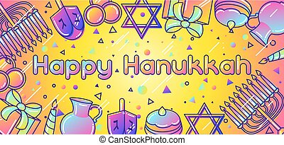 Happy Hanukkah celebration banner with holiday objects