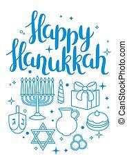 Happy Hanukkah celebration card with holiday objects.