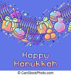 Happy Hanukkah celebration seamless pattern with holiday objects