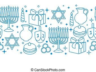 Happy Hanukkah celebration seamless pattern with holiday...