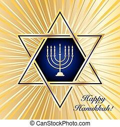 Happy Hanukkah - A Happy Hanukkah card template in blue and...