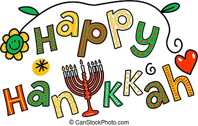 Whimsical cartoon text doodle which reads, Happy Hanukkah.
