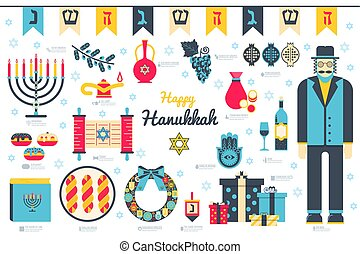 Happy hanukkah day flat illustration background. Icons...