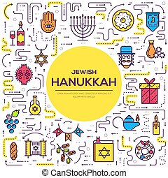 Happy hanukkah day thin line illustration background....