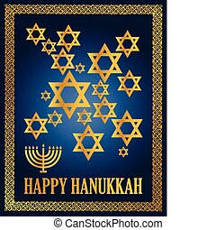 Happy hanukkah - Detail illustration of a blue and gold...