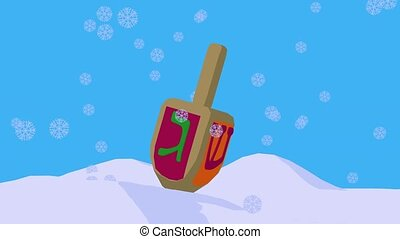 Happy Hanukkah - Dreidel with snowflakes on a blue...