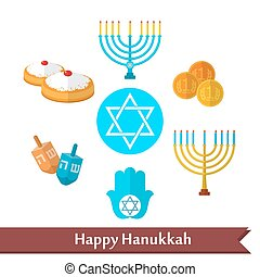 Happy Hanukkah flat vector icon set - Happy Hanukkah flat...