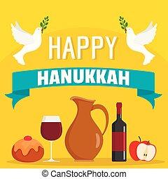 Happy hanukkah food concept background, flat style - Happy...