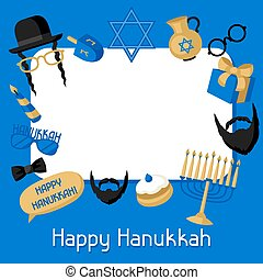 Happy Hanukkah frame with photo booth stickers. Accessories...
