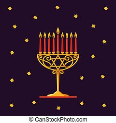 Happy Hanukkah. Gold menorah with red candles and stars on dark background for your greeting card design.