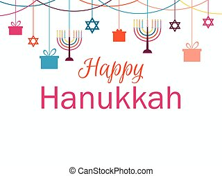 Happy Hanukkah greeting card. Candlestick with nine candles. Garland with hanging gifts. Vector illustration