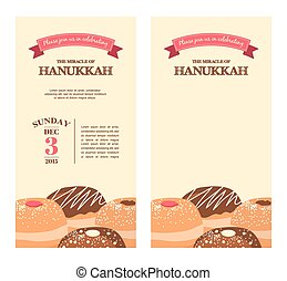 Happy Hanukkah greeting card design, snowing holiday template for party invitation, vector illustration