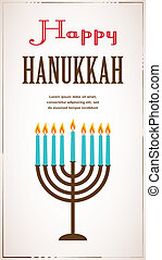 Happy Hanukkah greeting card design, jewish holiday. Vector...