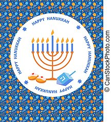 Happy Hanukkah greeting card design with pattern