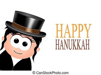 Happy Hanukkah , greeting card. - Happy Hanukkah on a white...