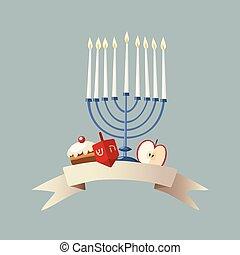 Happy Hanukkah greeting card, invitation with hand drawn...