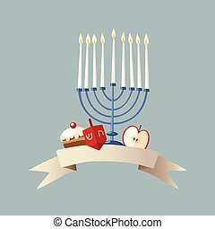 Happy Hanukkah greeting card, invitation with hand drawn...