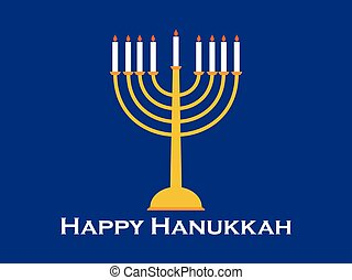 Happy Hanukkah greeting card. Candlestick with nine candles....