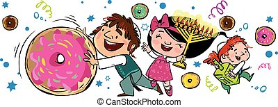 Happy Hanukkah greeting card. Vector illustration - Happy...