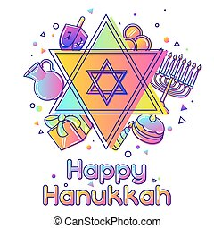 Happy Hanukkah greeting card with holiday objects.