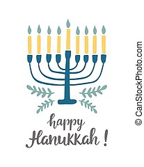 Happy Hanukkah greeting card with modern lettering