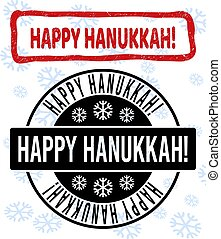 Happy Hanukkah! Grunge and Clean Stamp Seals for New Year