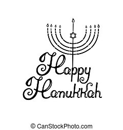 Happy Hanukkah hand lettering. Menorah with the star of David. Jewish holiday of light.