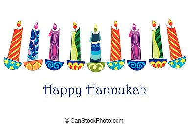 Happy Hanukkah - Hanukkah menorah isolated on white