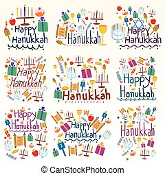 Happy Hanukkah Holiday and Festival wishing and greetings in...