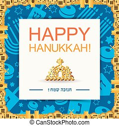 Happy Hanukkah holiday card or background. Trendy flat...