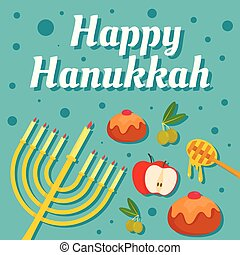 Happy hanukkah holiday concept background, flat style -...