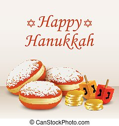 Happy hanukkah holiday concept background, realistic style -...