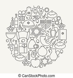 Happy Hanukkah Holiday Line Icons Set Circular Shaped -...