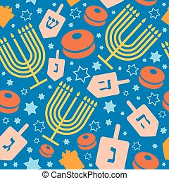 Happy Hanukkah holiday seamless pattern or background.