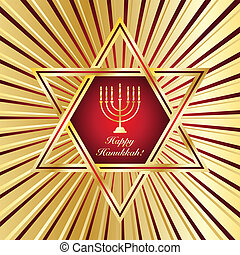 Happy Hanukkah - A Happy Hanukkah card template in red and...