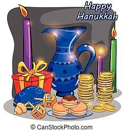 Happy Hanukkah Israel holiday greeting background in vector