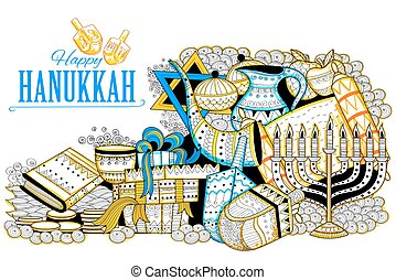 Happy Hanukkah, Jewish holiday background