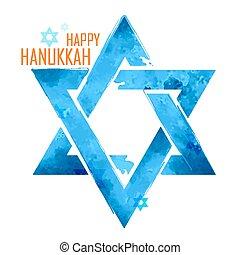 Happy Hanukkah, Jewish holiday background with hanging star of David