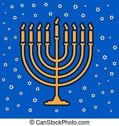 jewish traditional nine candle candelabrum
