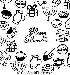 Happy Hanukkah Lettering. A set of traditional items for the Jewish holiday of lights in the Doodle style.