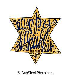 Happy Hanukkah lettering in David Star shape. Colored - ...