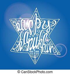 Happy Hanukkah lettering in sparkling David Star