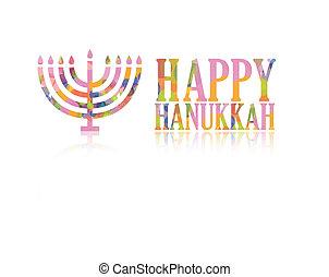 Happy hanukkah logo - Colorful happy hanukkah logo isolated...