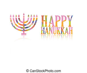 Happy hanukkah logo - Colorful happy hanukkah logo isolated...