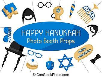 Happy Hanukkah photo booth props. Accessories for festival and party