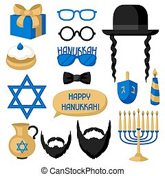 Happy Hanukkah photo booth stickers. Accessories for...