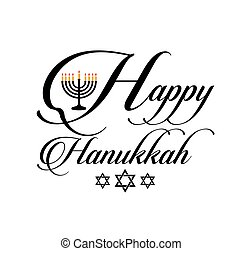 Happy Hanukkah poster- Jewish holiday celebration with star of David symbol