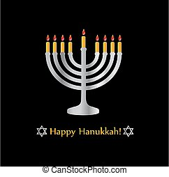 Happy Hanukkah poster- Jewish holiday celebration with star of David symbol