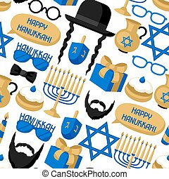 Happy Hanukkah seamless pattern with photo booth stickers....