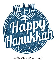 Happy Hanukkah stamp - Happy Hanukkah grunge rubber stamp on...